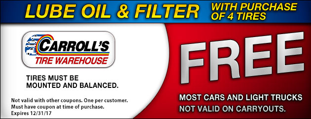 Lube Oil Filter Free with 4 Tire Purchase