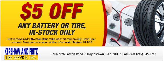 $5 Off Any Battery or tire, In-Stock