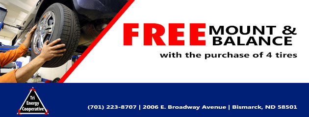 FREE Tire Mount and Balance With Purchase of 4 New Tires!
