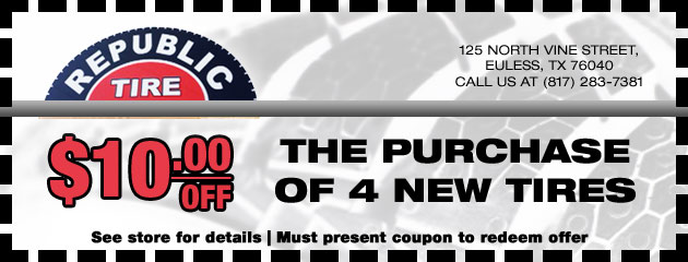 $10 off the Purchase of 4 New Tires