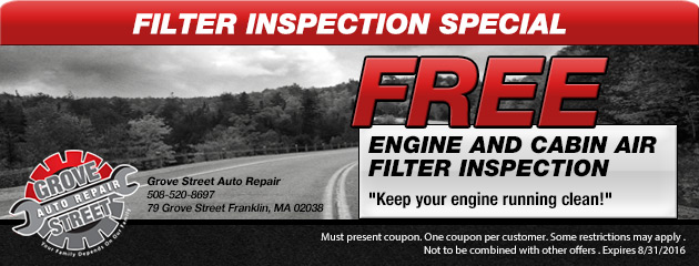 Free engine and cabin air filter inspection