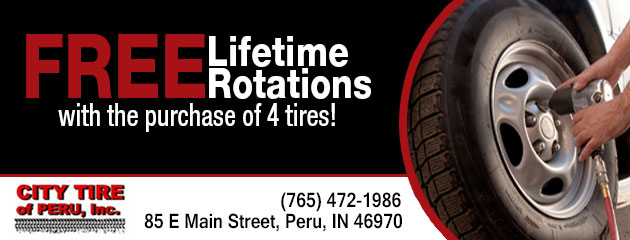 Free Lifetime Rotations with the purchase of four tires