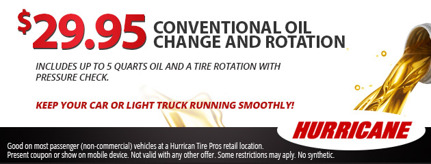 Oil change & rotation $29.95