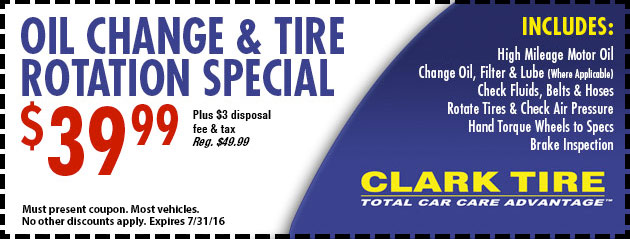 Oil and Tire Rotation Special- $39.99