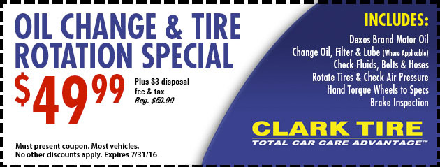 Oil and Tire Rotation Special - $49.99