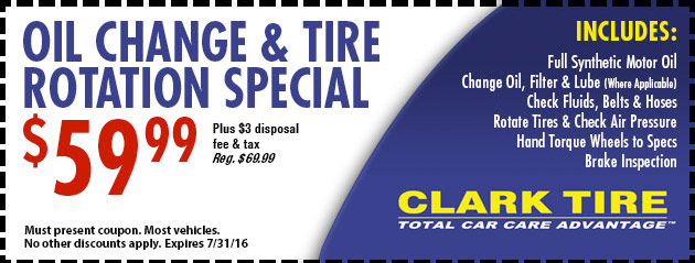 Oil and Tire Rotation Special - $59.99