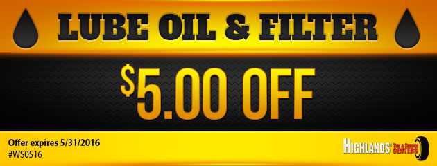 $5.00 Off Lube, Oil & Filter