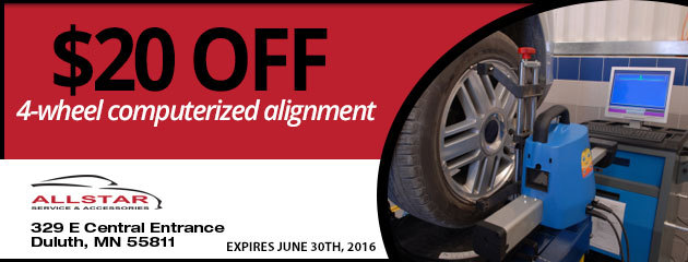$20 OFF Four-Wheel Computerized Alignment