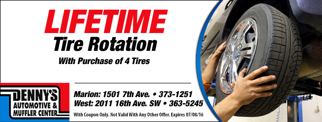 Lifetime Tire Rotation with 4 Tire Purchase Special