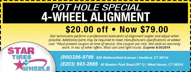Pot Hole Special - $20 Off a 4 Wheel Alignment