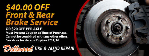 $40 off Front & Rear Brake Service