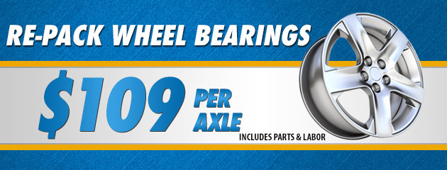 Re-Pack Wheel Bearings $109.00