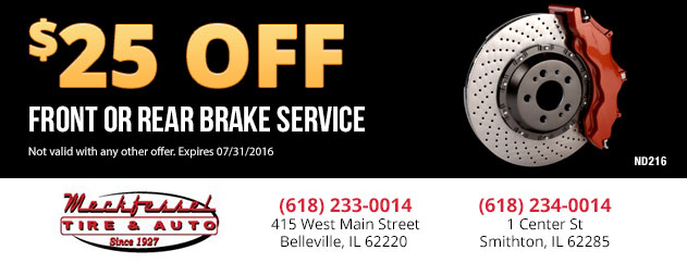 $25.00 Off Front or Rear Brake Service
