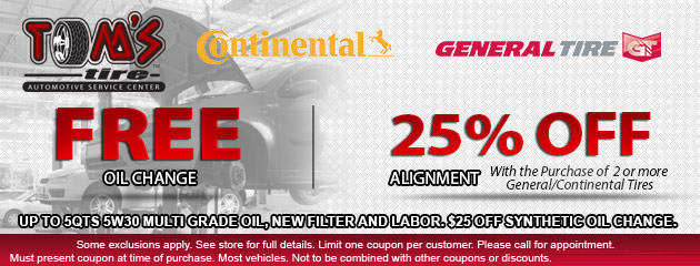 FREE oil change or 25% OFF Wheel Alignment with tire purchase!