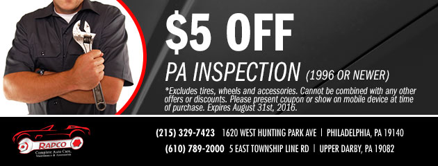 $5 OFF PA State Inspection