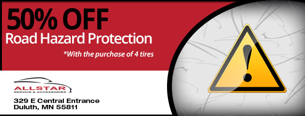 50% Off Roadside Assistance with the purchase of 4 tires