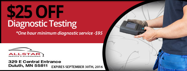 $25 OFF Diagnostic Testing