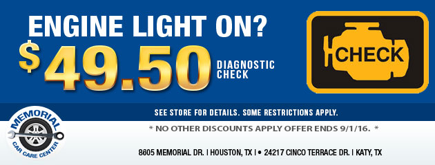 Engine Light On? $49.50 Diagnostic Check