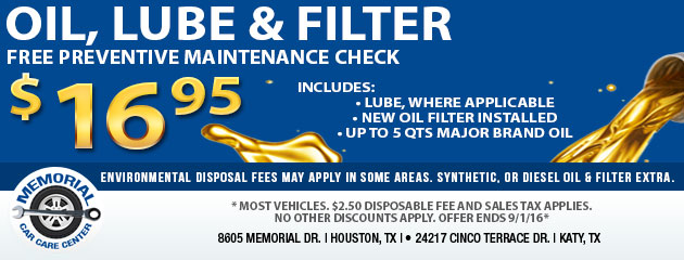 $16.95 oil change special