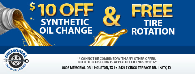 $10 OFF Synthetic Oil Change and FREE Tire Rotation