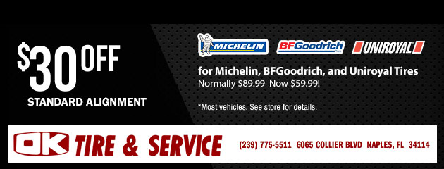 $30.00 off Standard Alignment for Michelin, BFGoodrich, and Uniroyal Tires