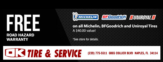 Free Road Hazard on all Michelin, BFGoodrich and Uniroyal Tires
