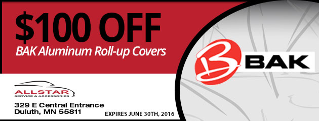 $100 OFF BAK Aluminum Roll-up Covers