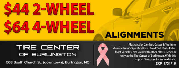 $40 for 2 Wheel, $60 for 4 Wheel Alignments