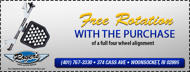 Free Rotation with the purchase of a full 4 wheel alignment