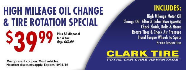 High Mileage Oil Change and Tire Rotation Special - $39.99
