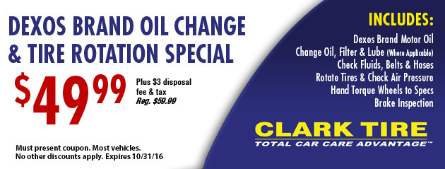 Dexos Brand Oil Change and Tire Rotation Special - $49.99