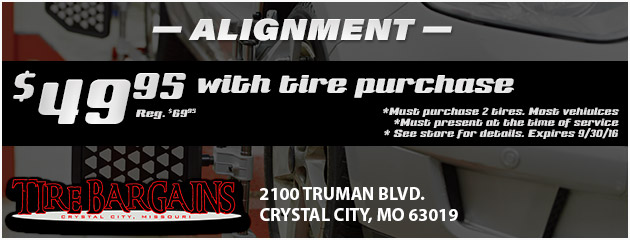 $49.95 Alignment with tire purchase!