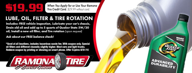 $19.99 Lube, Oil, Filter & Tire Rotation Coupon