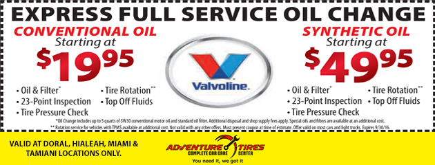 Express Full Service Oil change Special