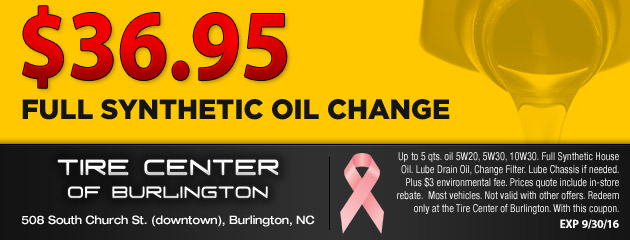 $36.95 Synthetic Oil Change