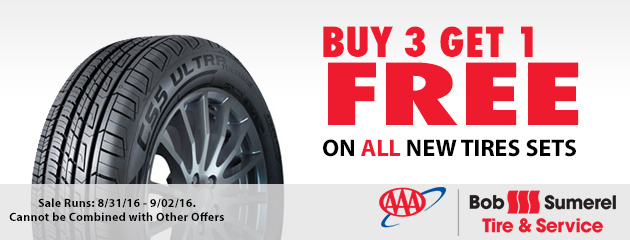 Buy 3 Get 1 Free on ALL New Tire Sets