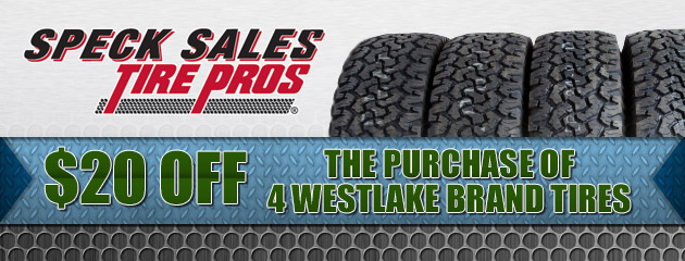 $20 Off the purchase of 4 westlake brand tires