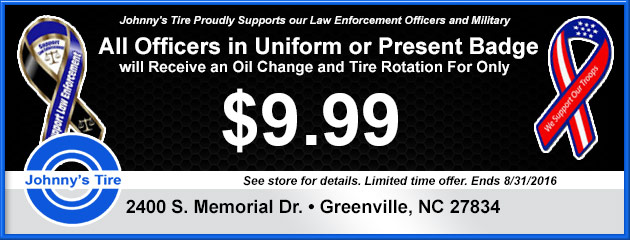 Officers Special - Receive an Oil Change and Tire Rotation for only $9.99