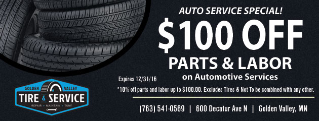 Get up to $100.00 Off Parts and Labor on Automotive Services