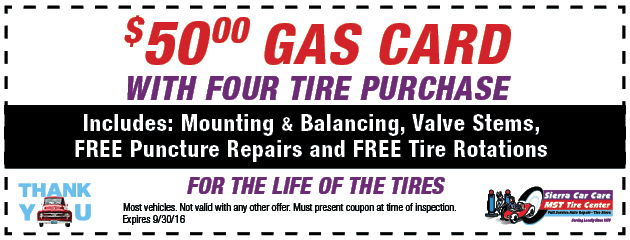 $50.00 Gas Card with Four Tire Purchase