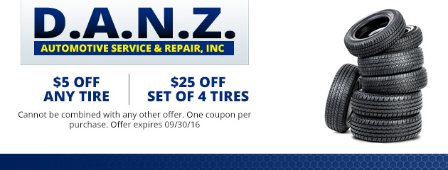 $5 off any tire or $25 off a set of 4 tires