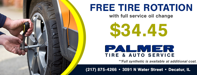 Free Tire Rotation with $34.45 Full Service Oil Change