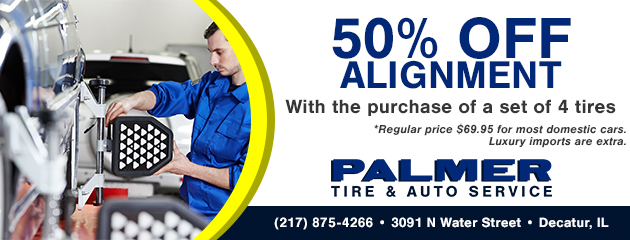 50% Off Alignment with purchase of 4 new tires!