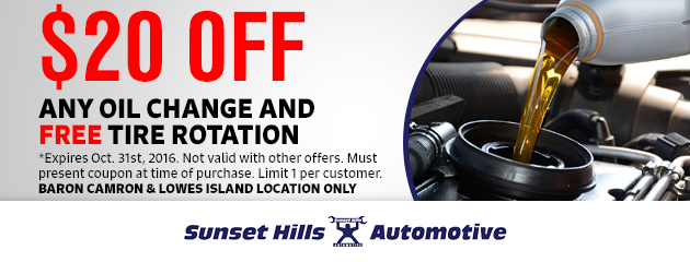 $20 off any oil Change and Free Tire Rotation