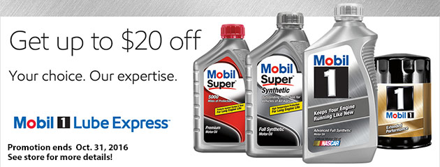 Mobile 1 Oil Change Promotion