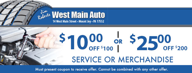 $10 off $100 or $25 off $200 - service or merchandise