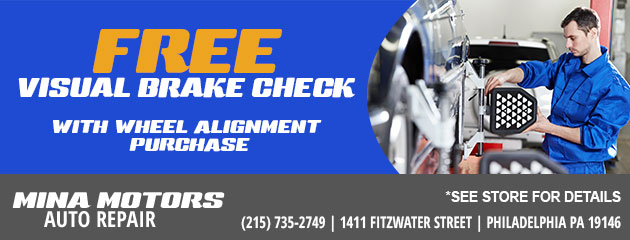 Free Visual Brake Check With Wheel Alignment Purchase