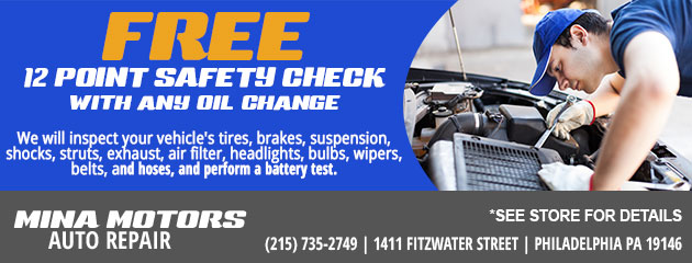 FREE 12 Point Safety Check with any oil change
