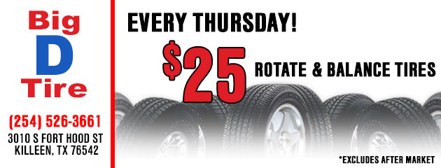 $25 Mount and Balance Tires