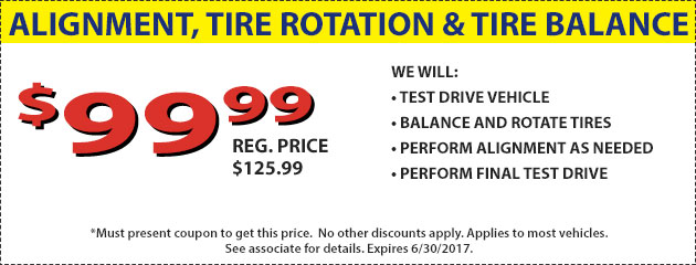 $99.99 Alignment, Tire Rotation and Balance